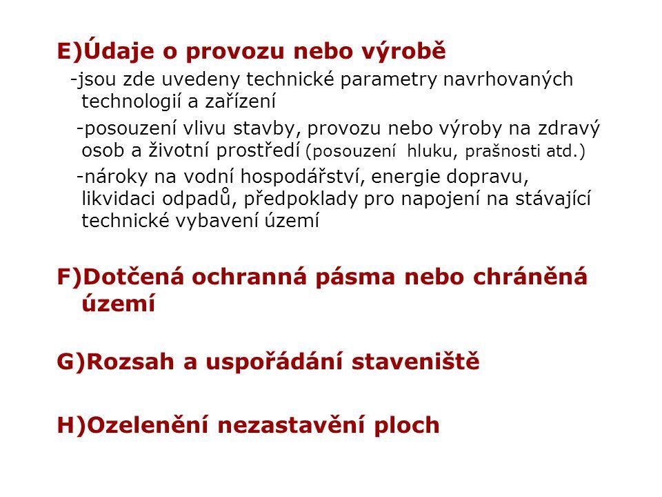E)Údaje o provozu nebo výrobě