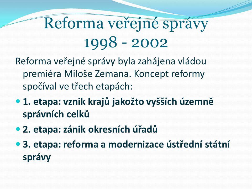 Reforma veřejné správy 1998 - 2002