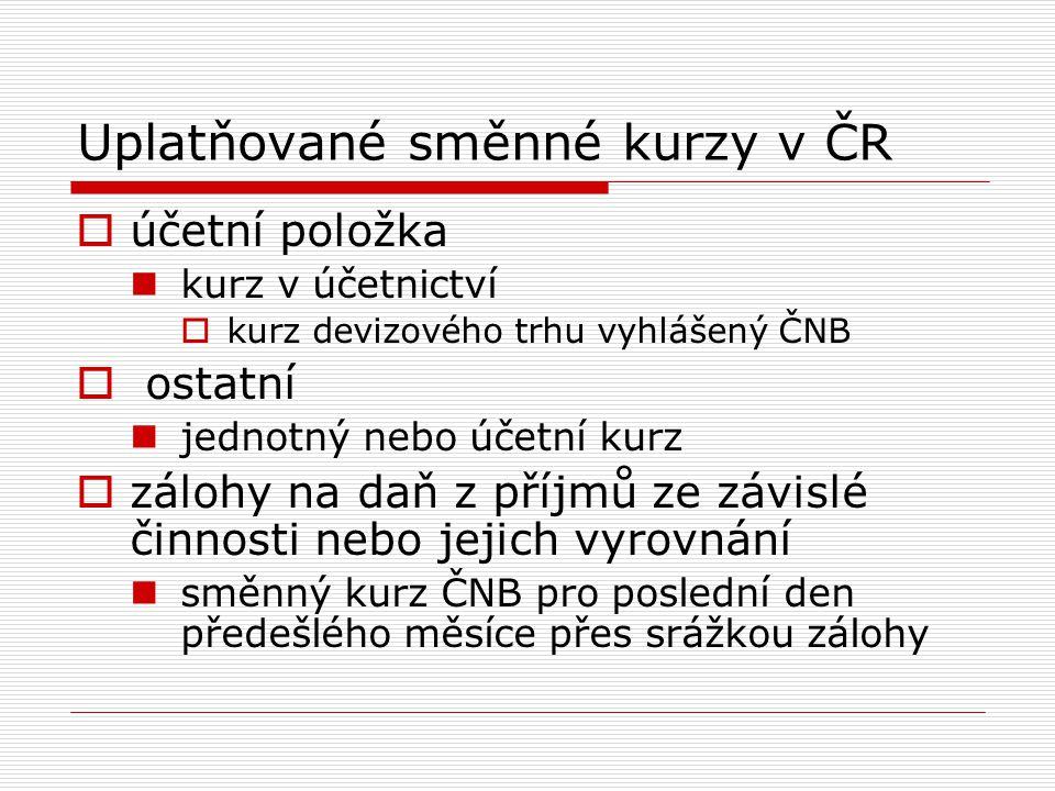 Uplatňované směnné kurzy v ČR