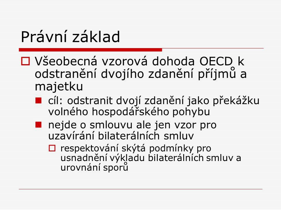 Právní základ Všeobecná vzorová dohoda OECD k odstranění dvojího zdanění příjmů a majetku.