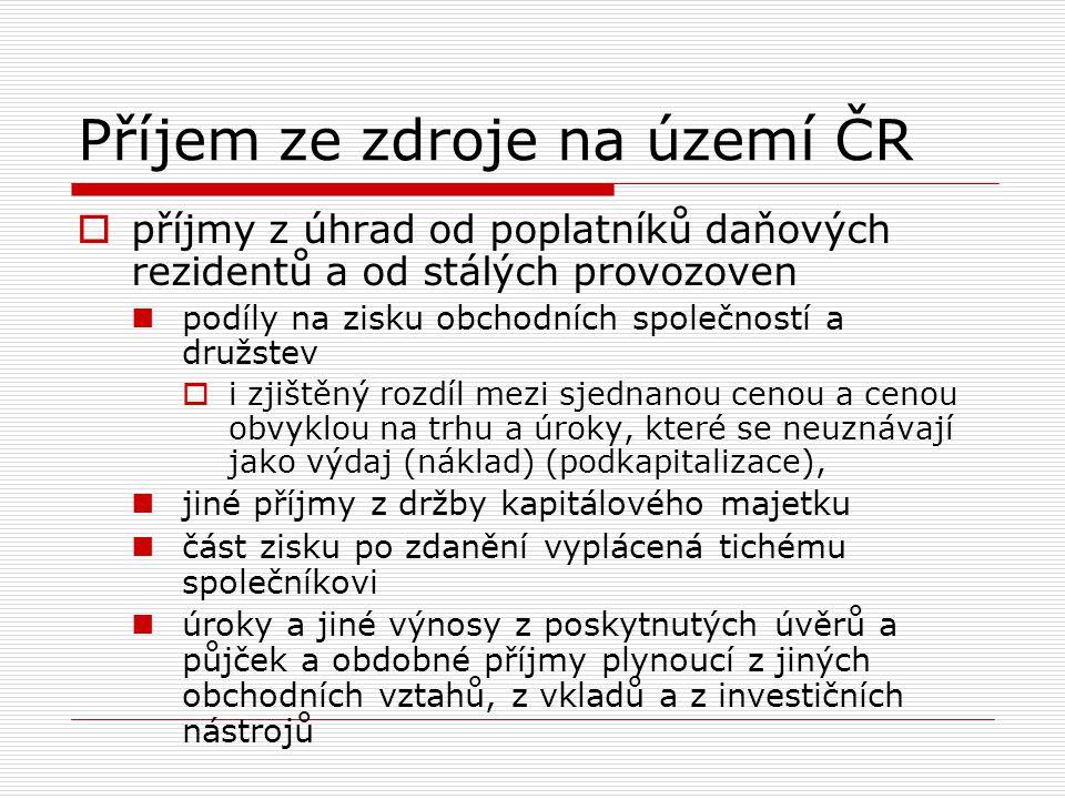 Příjem ze zdroje na území ČR