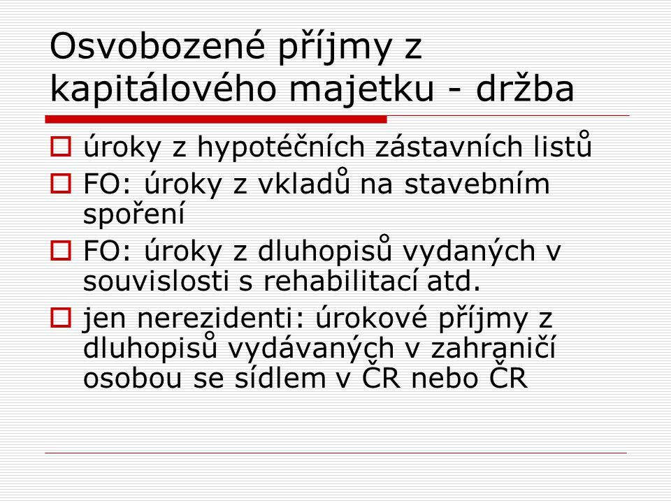 Osvobozené příjmy z kapitálového majetku - držba