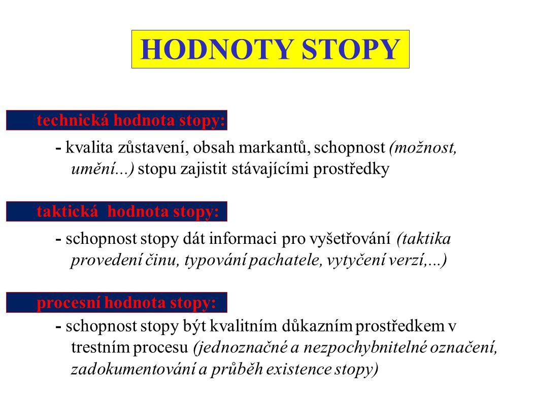 HODNOTY STOPY technická hodnota stopy: