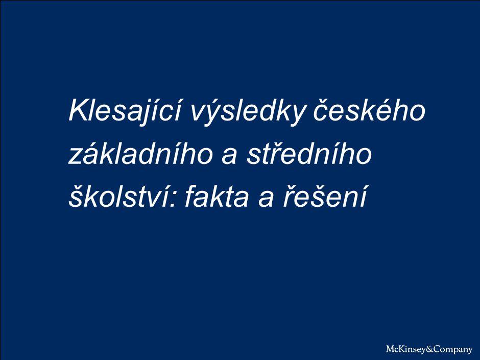 Klesající výsledky ZŠ/SŠ ohrožují konkurenceschopnost ČR