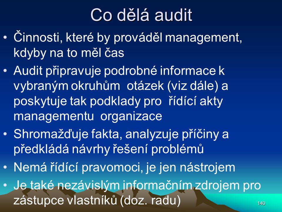 Co dělá audit Činnosti, které by prováděl management, kdyby na to měl čas.