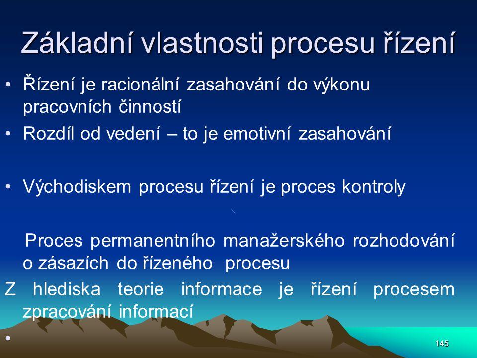 Základní vlastnosti procesu řízení