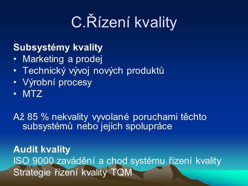 C.Řízení kvality Subsystémy kvality Marketing a prodej