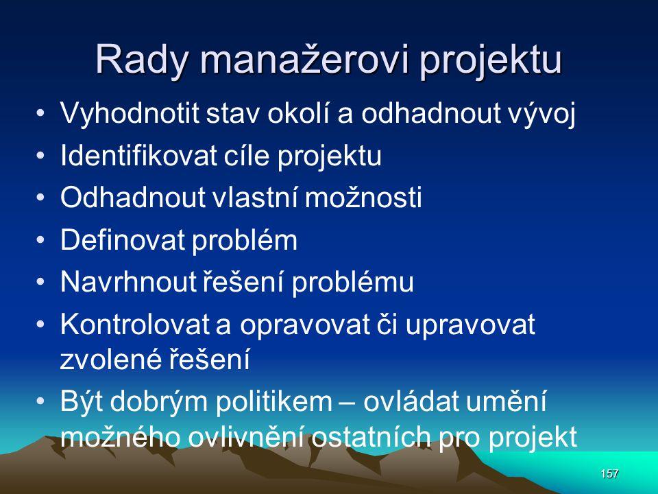 Rady manažerovi projektu