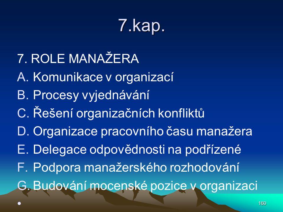 7.kap. 7. ROLE MANAŽERA Komunikace v organizací Procesy vyjednávání