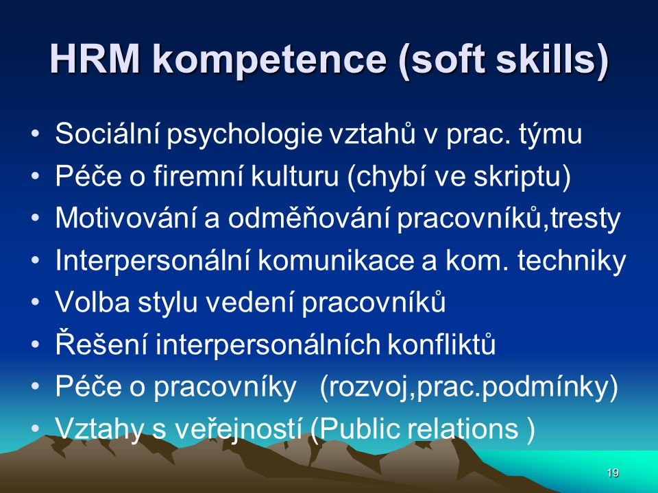 HRM kompetence (soft skills)