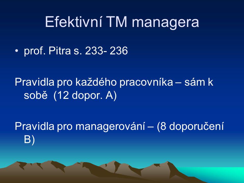 Efektivní TM managera prof. Pitra s. 233- 236
