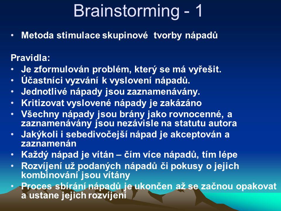 Brainstorming - 1 Metoda stimulace skupinové tvorby nápadů Pravidla: