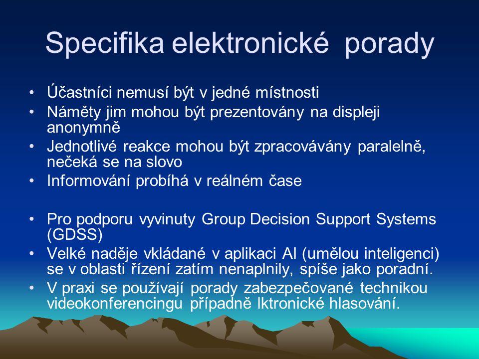 Specifika elektronické porady