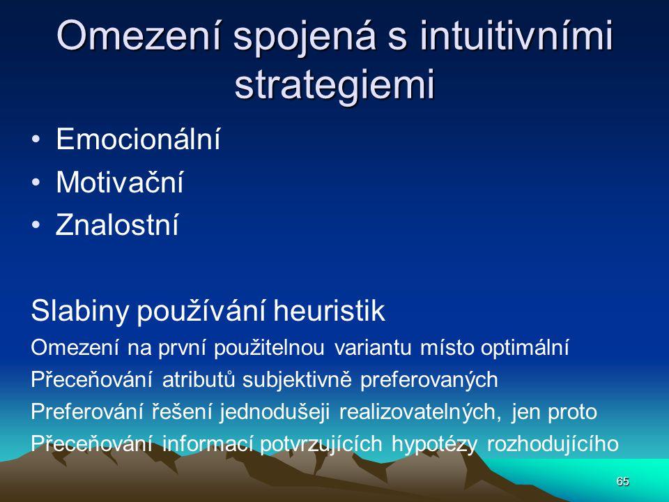 Omezení spojená s intuitivními strategiemi