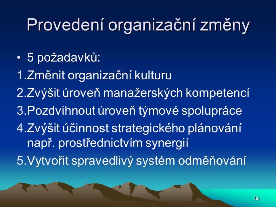 Provedení organizační změny