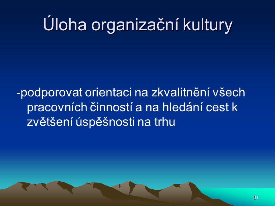 Úloha organizační kultury