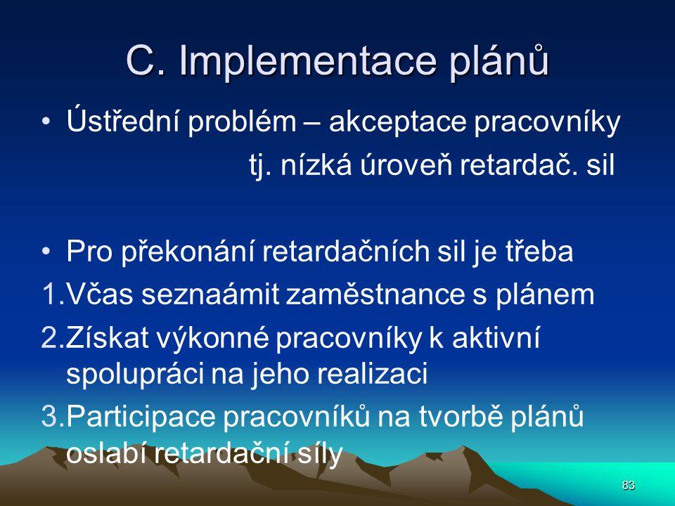 C. Implementace plánů Ústřední problém – akceptace pracovníky