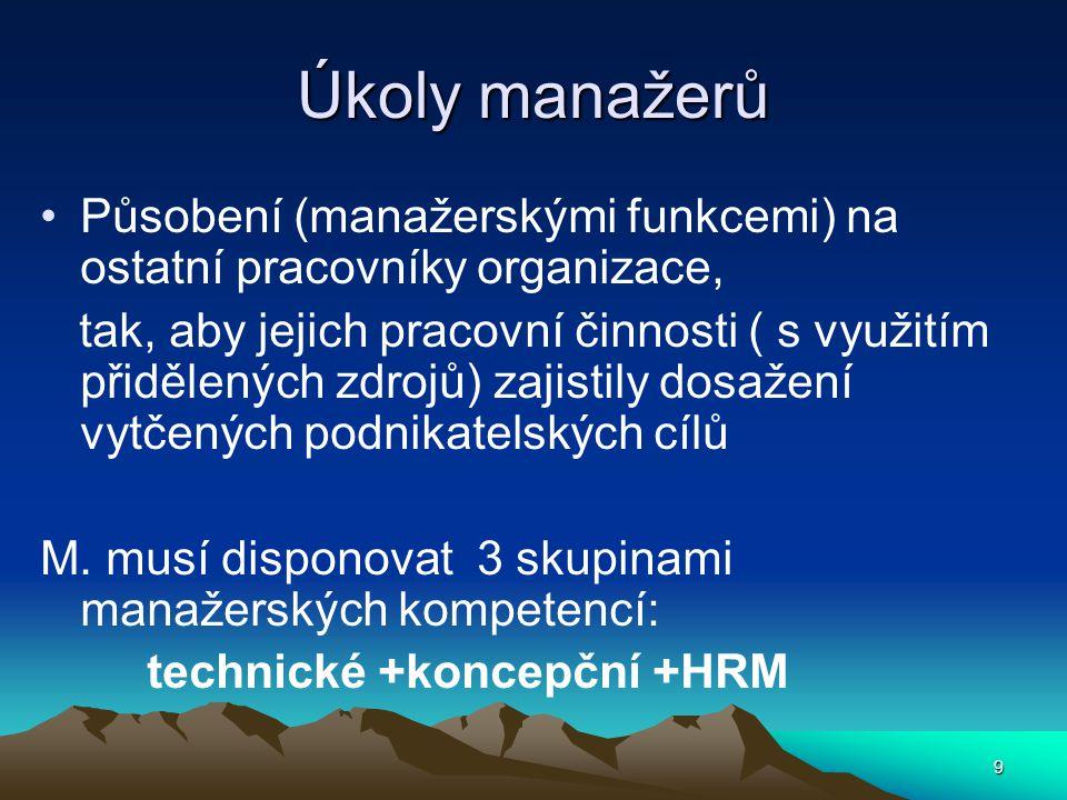 Úkoly manažerů Působení (manažerskými funkcemi) na ostatní pracovníky organizace,