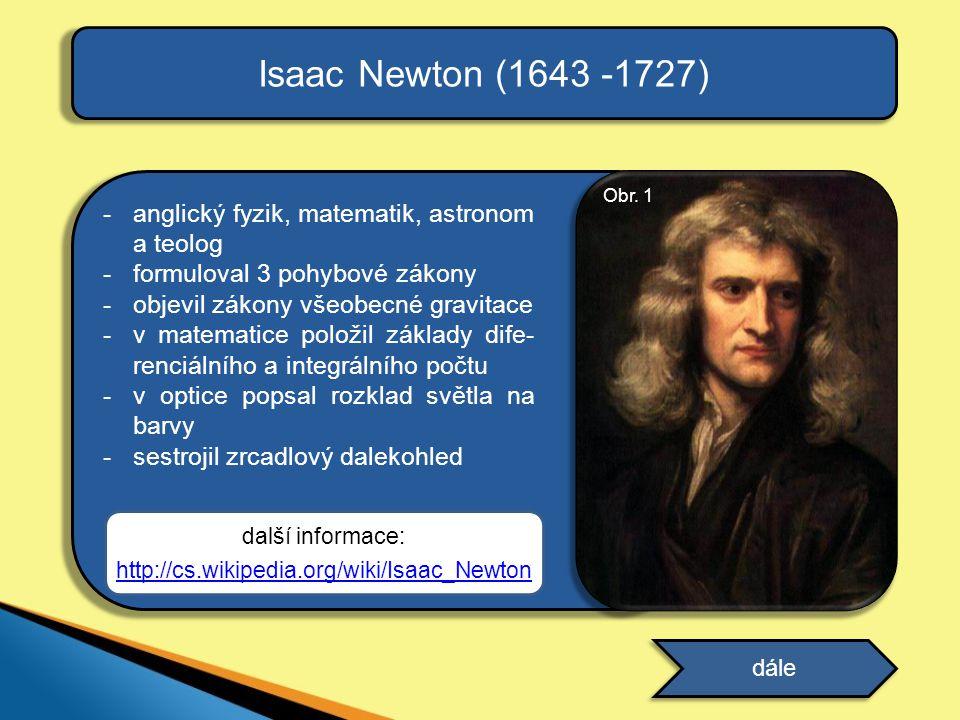 Isaac Newton (1643 -1727) anglický fyzik, matematik, astronom a teolog