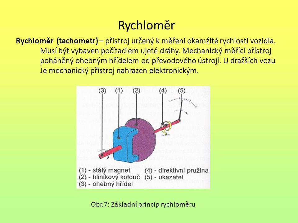 Rychloměr Rychloměr (tachometr) – přístroj určený k měření okamžité rychlosti vozidla.