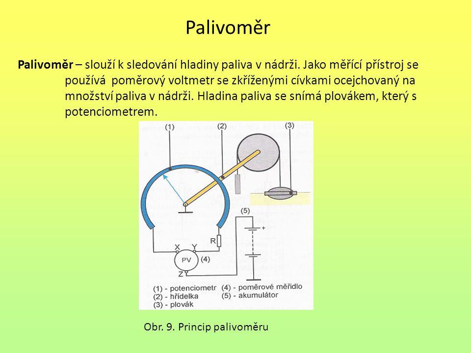 Palivoměr Palivoměr – slouží k sledování hladiny paliva v nádrži. Jako měřící přístroj se.