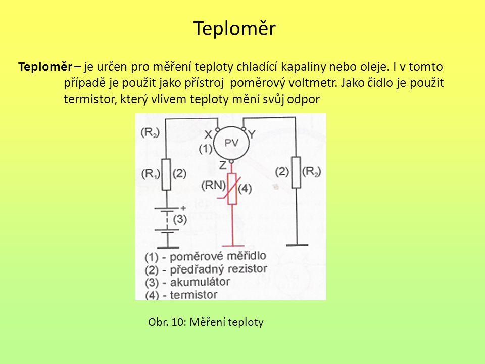 Teploměr Teploměr – je určen pro měření teploty chladící kapaliny nebo oleje. I v tomto.
