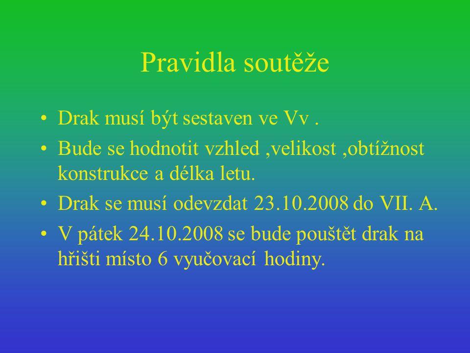 Pravidla soutěže Drak musí být sestaven ve Vv .