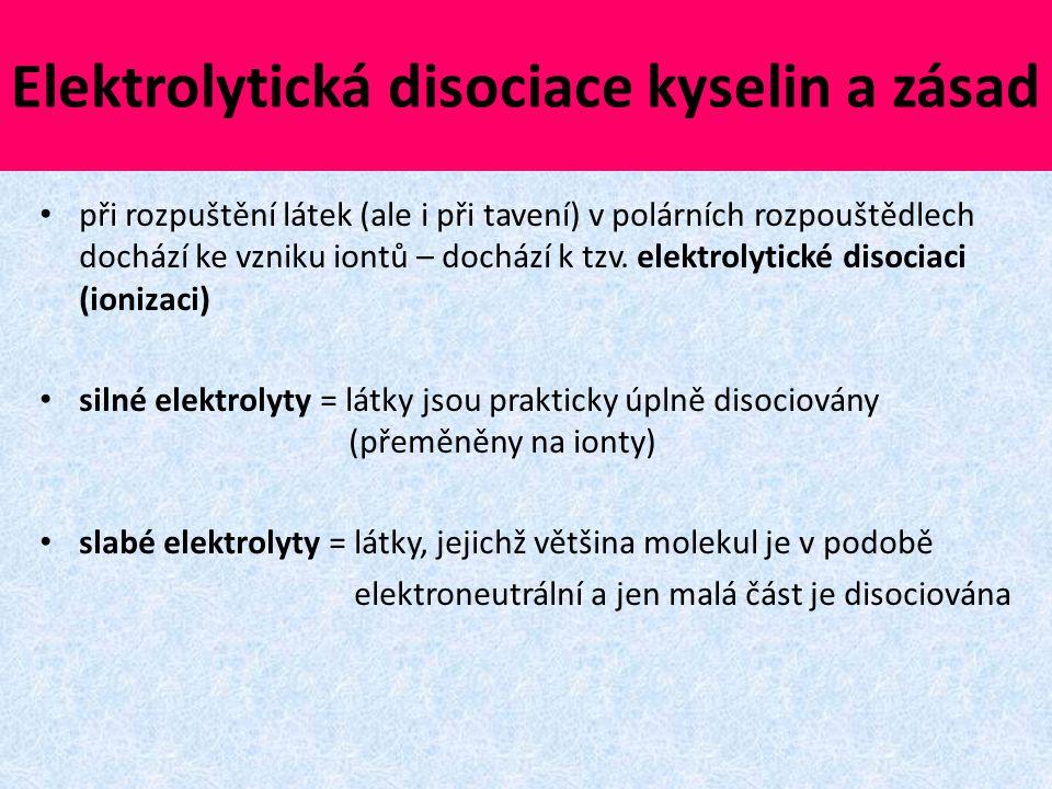 Elektrolytická disociace kyselin a zásad