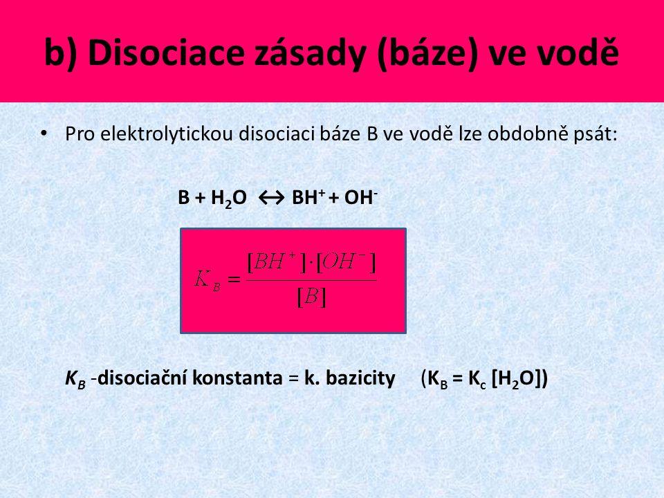 b) Disociace zásady (báze) ve vodě