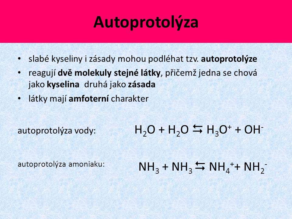 Autoprotolýza autoprotolýza amoniaku: NH3 + NH3  NH4++ NH2-