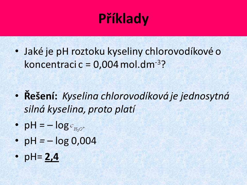 Příklady Jaké je pH roztoku kyseliny chlorovodíkové o koncentraci c = 0,004 mol.dm-3