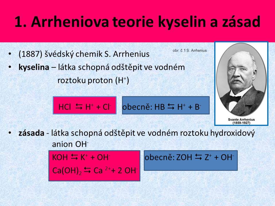 1. Arrheniova teorie kyselin a zásad