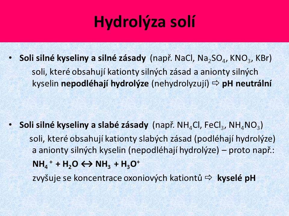 Hydrolýza solí Soli silné kyseliny a silné zásady (např. NaCl, Na2SO4, KNO3, KBr)