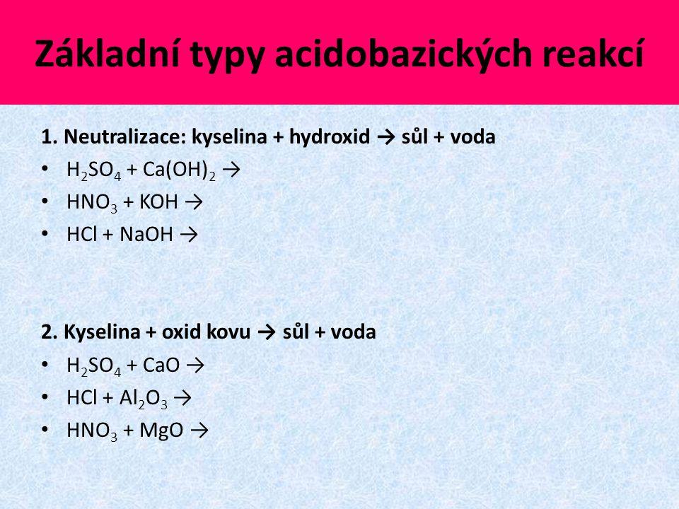 Základní typy acidobazických reakcí