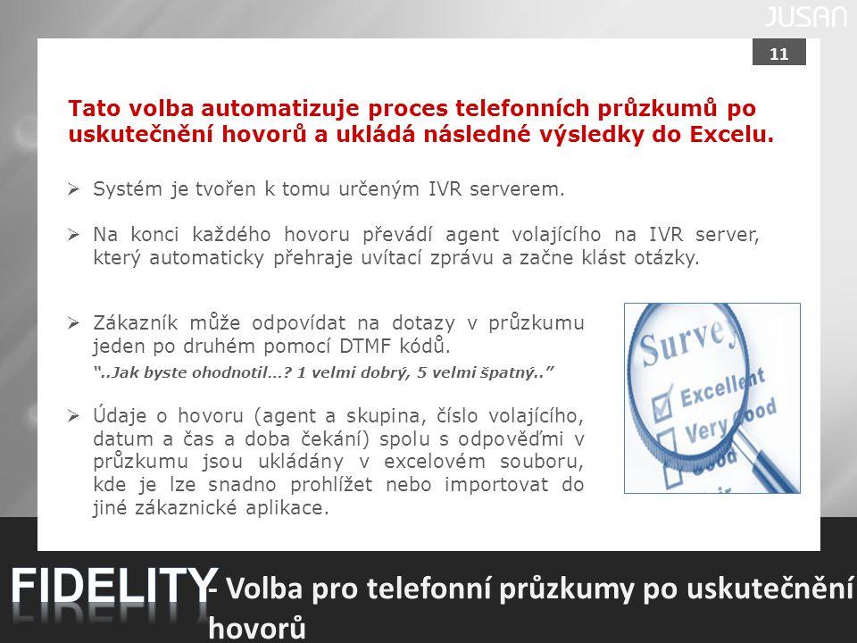 FIDELITY - Volba pro telefonní průzkumy po uskutečnění hovorů