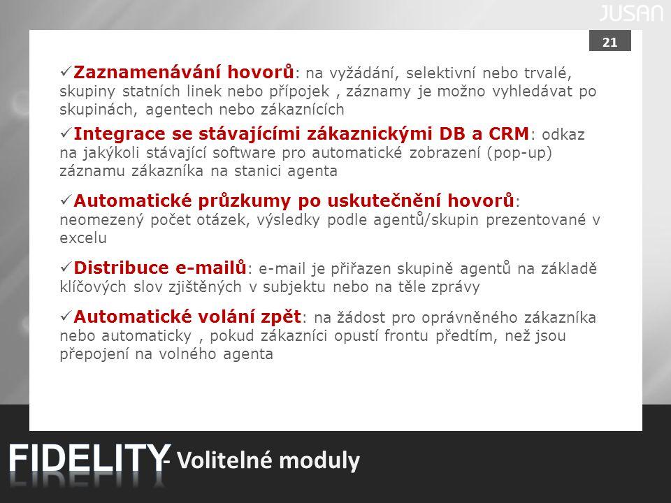 FIDELITY - Volitelné moduly