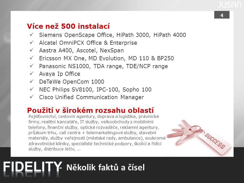 FIDELITY - Několik faktů a čísel Více než 500 instalací