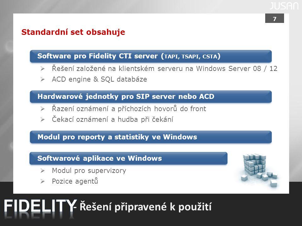 FIDELITY - Řešení připravené k použití Standardní set obsahuje