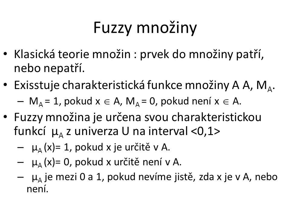 Fuzzy množiny Klasická teorie množin : prvek do množiny patří, nebo nepatří. Exisstuje charakteristická funkce množiny A A, MA.