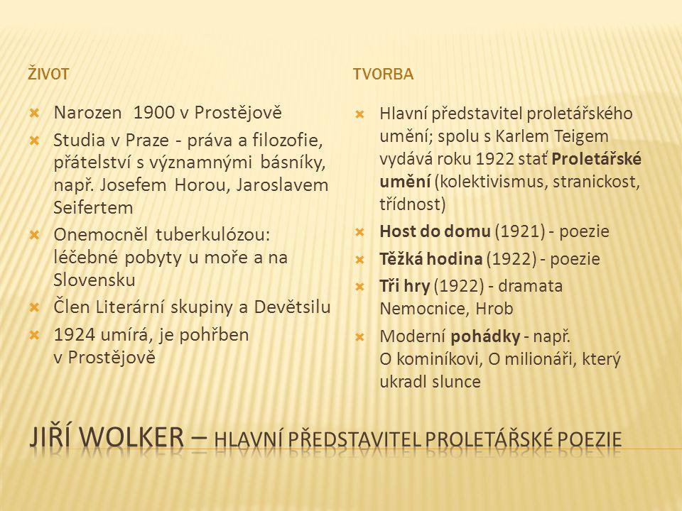 Jiří Wolker – hlavní předstaVITEL PROLETÁŘSKÉ POEZIE