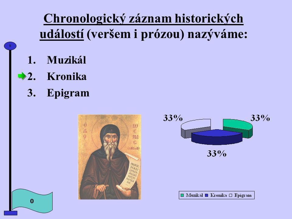 Chronologický záznam historických událostí (veršem i prózou) nazýváme: