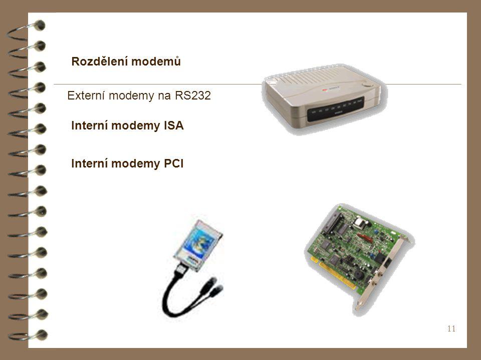 Rozdělení modemů Externí modemy na RS232 Interní modemy ISA Interní modemy PCI