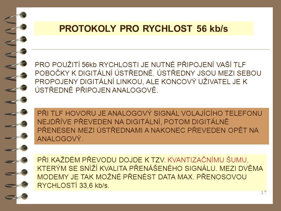 PROTOKOLY PRO RYCHLOST 56 kb/s