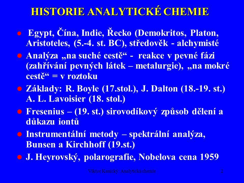 HISTORIE ANALYTICKÉ CHEMIE