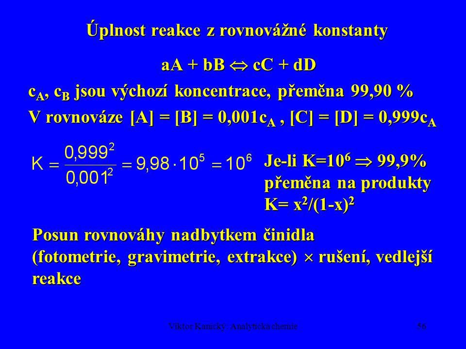 Úplnost reakce z rovnovážné konstanty