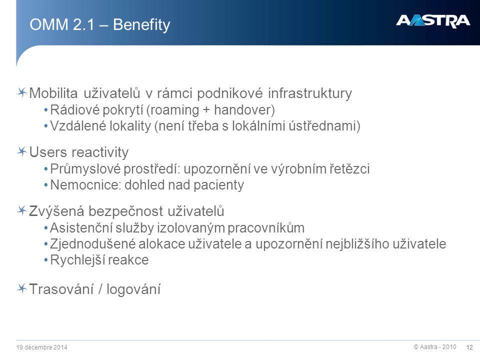OMM 2.1 – Benefity Mobilita uživatelů v rámci podnikové infrastruktury
