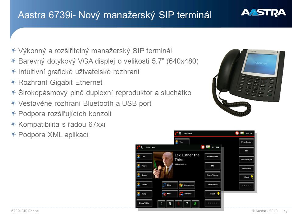 Aastra 6739i- Nový manažerský SIP terminál