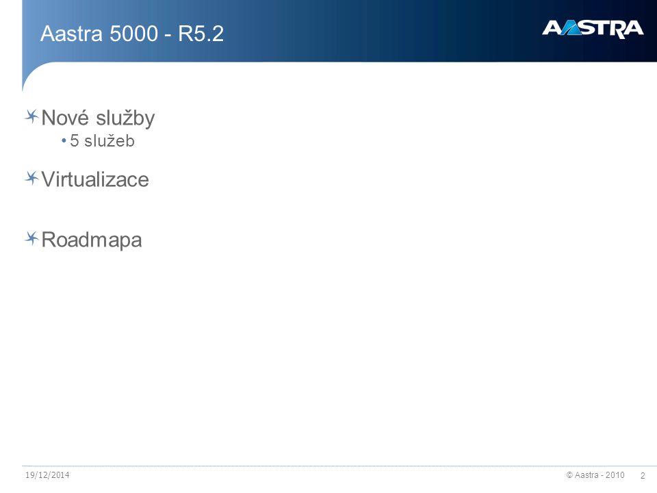 Aastra 5000 - R5.2 Nové služby Virtualizace Roadmapa 5 služeb