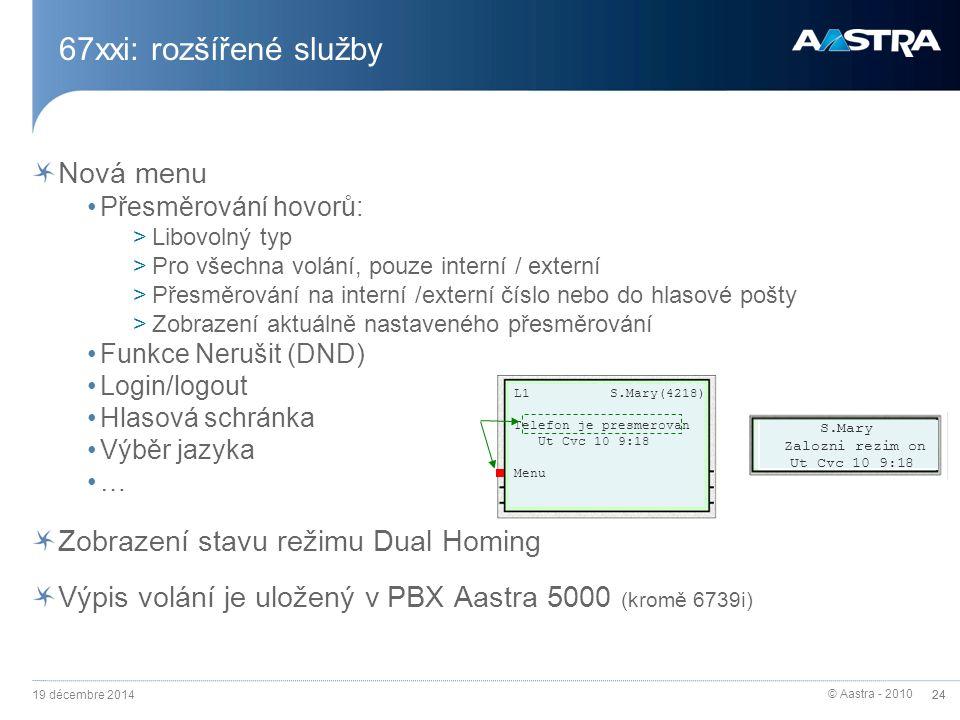 67xxi: rozšířené služby Nová menu Zobrazení stavu režimu Dual Homing