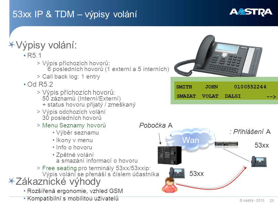 53xx IP & TDM – výpisy volání